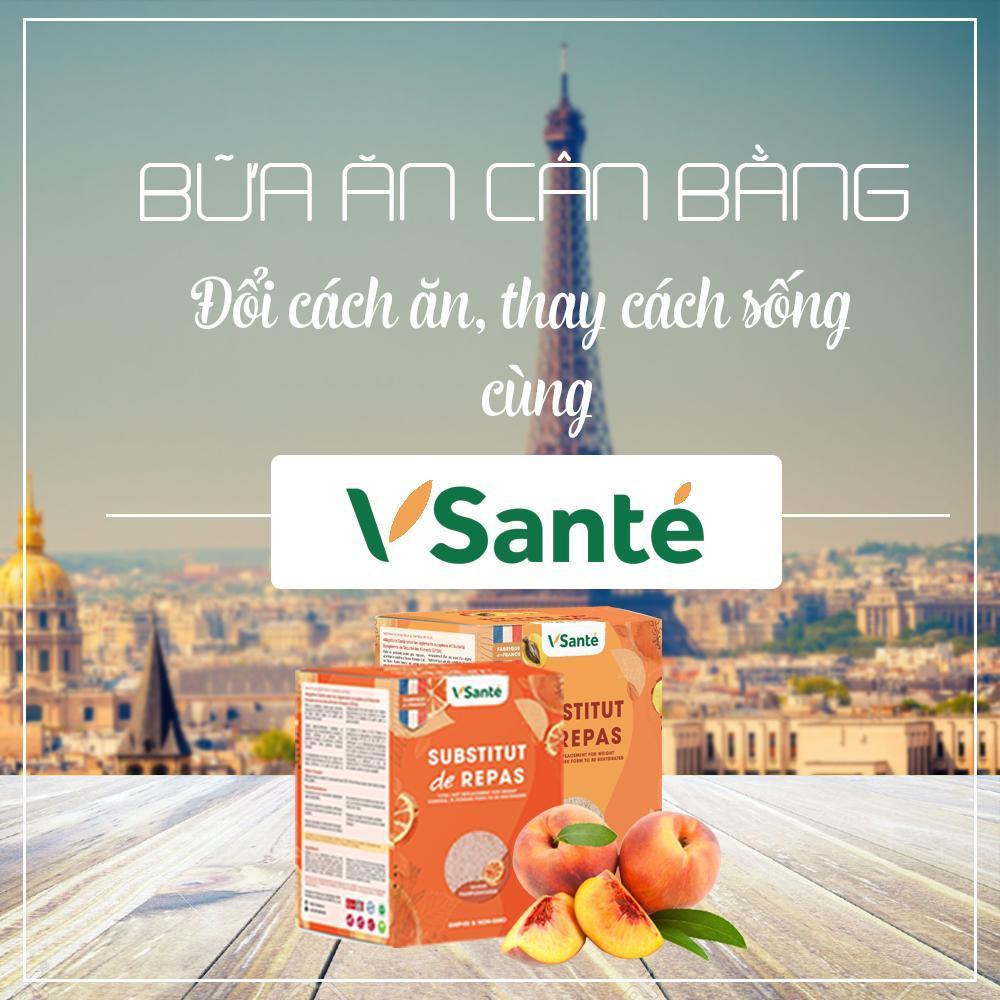 Combo 2 hộp Thực phẩm giảm cân [ Vị Đào + Bưởi ] - Thương hiệu Vsanté, Pháp + Tặng kèm bình lắc cao cấp