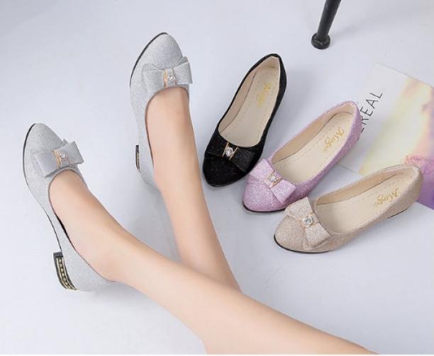 Giày búp bê đính nơ ánh nhũ chất đẹp dành cho nữ giá rẻ