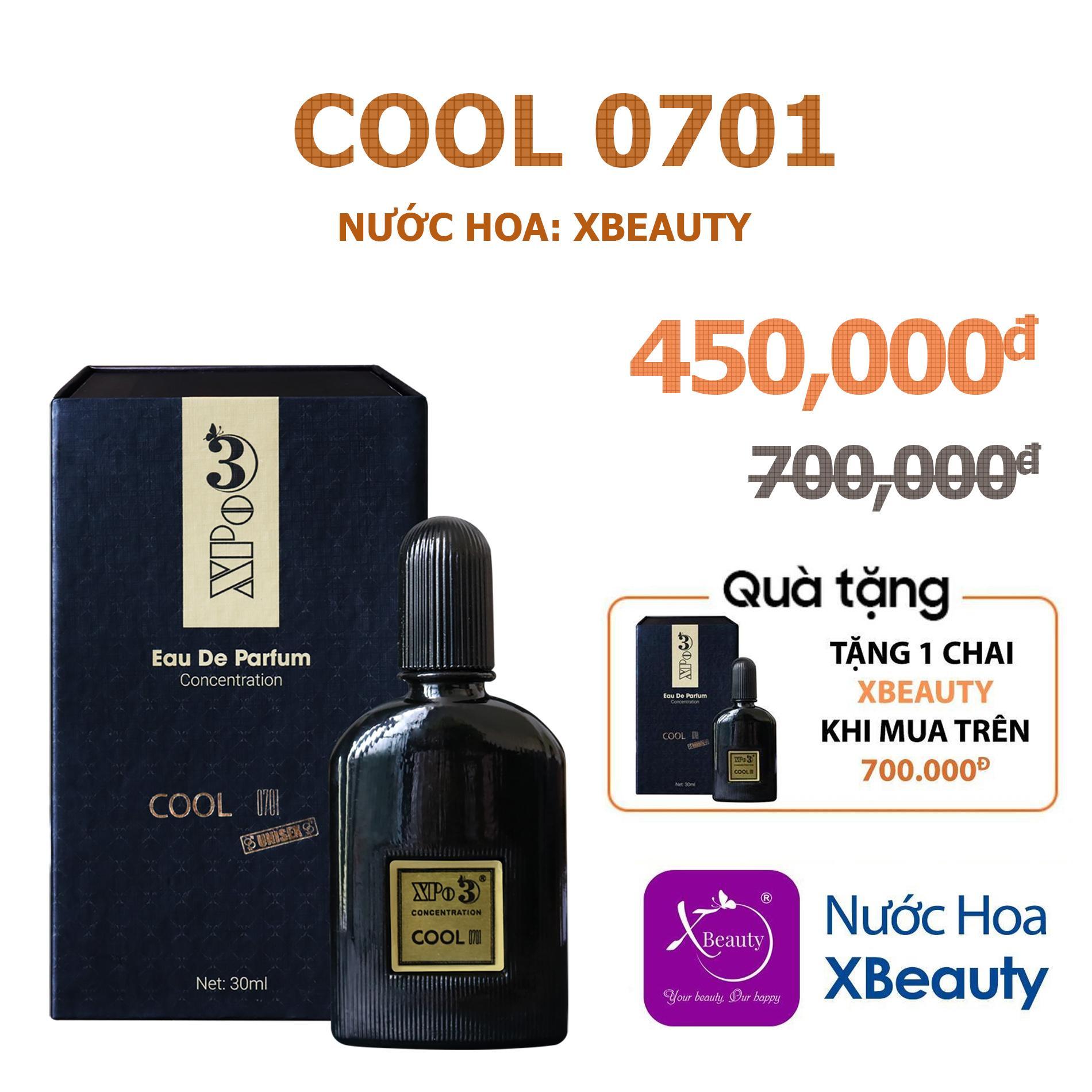 Nước hoa Nam Nữ XBeauty XPo3 Cool 0701 30ml (GTIN: 8938511722109). Nước hoa cô đặc thơm lâu dành cho Nam & Nữ (Unisex)