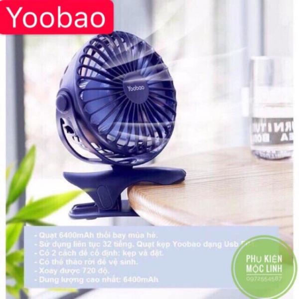 [ Dùng liên tục 32 tiếng ] quạt sạc tích điện yoobao kẹp xoay 360 độ F04 6400mah