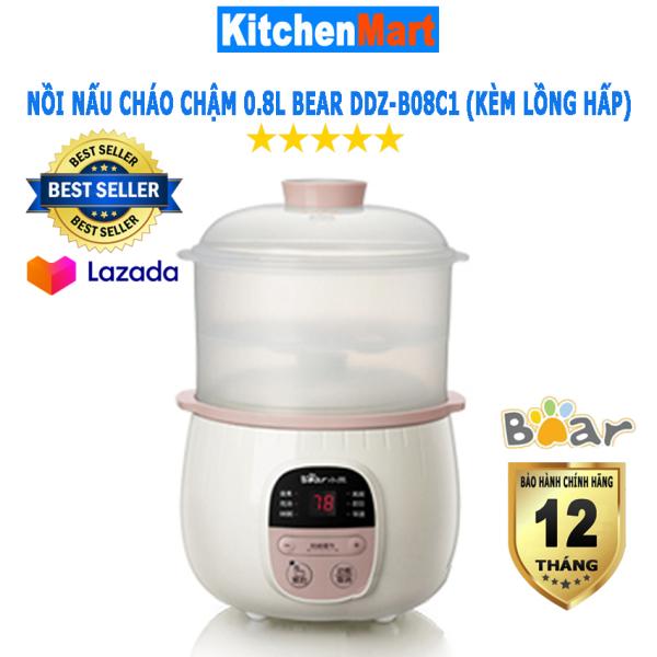 Nồi Nấu Cháo cho bé 0.8L Bear DDZ-B08C1 kèm lồng hấp 1L (Hàng chính hãng - Bảo hành 12 tháng) - KitchenMart
