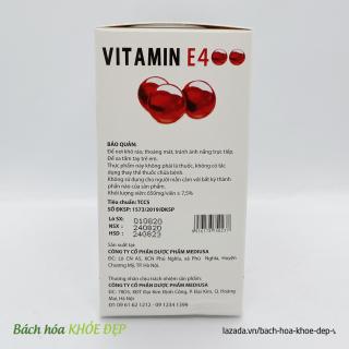 Viên Uống đẹp da Vitamin E Đỏ 4000mcg, Aloe vera 500mg chống lão hóa - Hộp 100 viên chống lão hóa da 5