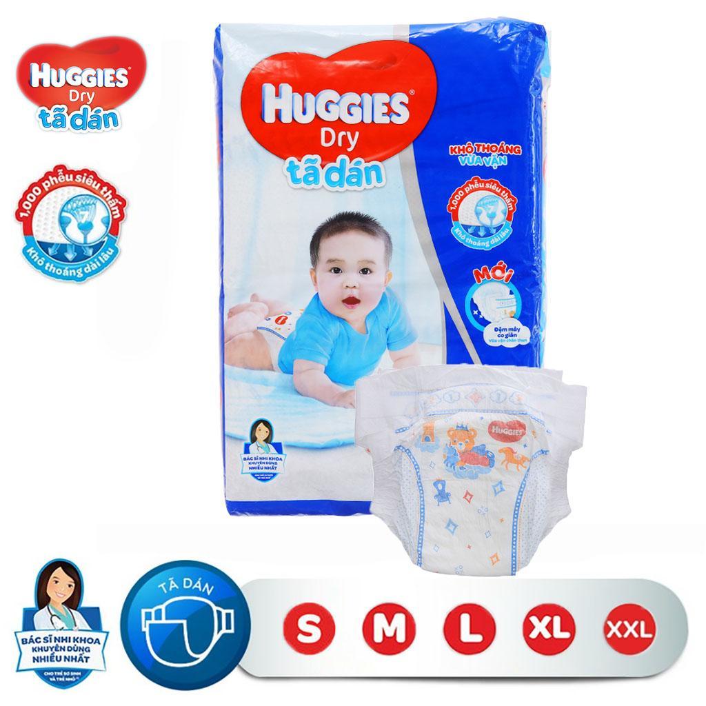 Bỉm - Tã Dán Huggies Dry Bịch Nhỡ Size NB58/S56/M48/L42/XL38/XXL30