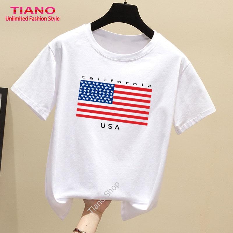 Áo Thun Nữ Tay Ngắn In Hình Lá Cờ USA Dễ Thương Tiano TIA-310