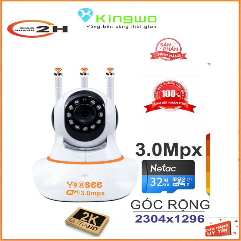Camera wifi yoosee 3 râu 3.0MP 360 độ góc rộng 2304*1296P + kèm thẻ nhớ 32gb - xoay 360 Thế hệ mới hình ảnh sắc nét 3.0mp ,10 đèn hồng ngoại đàm thoại 2 chiều-camera yoosee-camera wifi-yoosee camera-camera yoosee xoay 360 độ