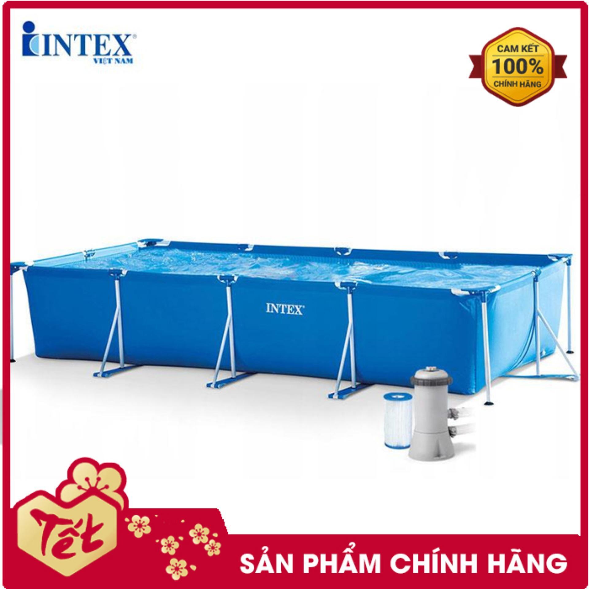 Bể bơi khung kim loại gia đình cỡ lớn chữ nhật INTEX 28273 - INTEX Việt Nam - Hồ bơi cho bé mini, Bể bơi phao trẻ em, bể bơi cỡ lớn, bể bơi ngoài trời