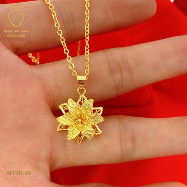 Dây Chuyền, Vòng Cổ Nữ Mặt Hoa Lily Trang Sức Titan Xi Mạ Vàng - Trang Sức Nữ Hava