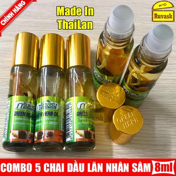 Combo 5 Chai Dầu Dạng Lăn Nhân Sâm Thảo Dược GREEN HERB OIL 8Ml Loại Tốt - Xuất Xứ Thái Lan