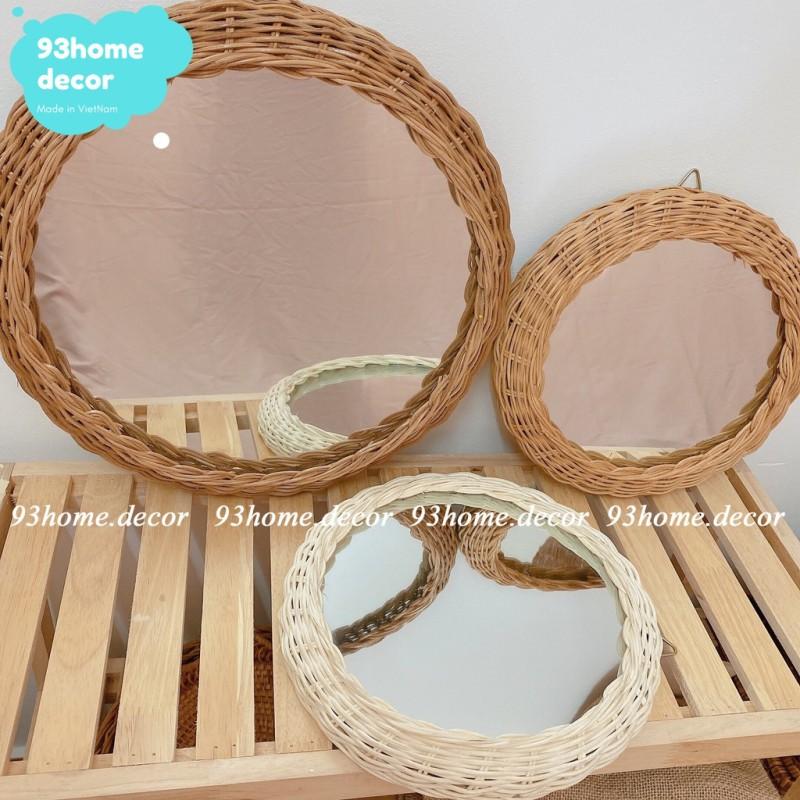Gương tròn viền may đan phong cách vintage, gương decor