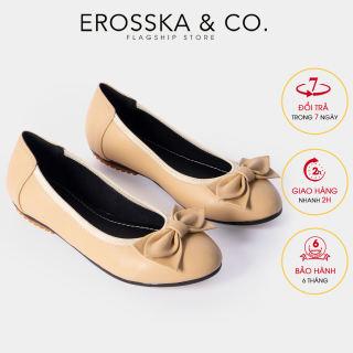 Giày búp bê Erosska thời trang mũi tròn đính nơ xinh xắn EF007 (NU)