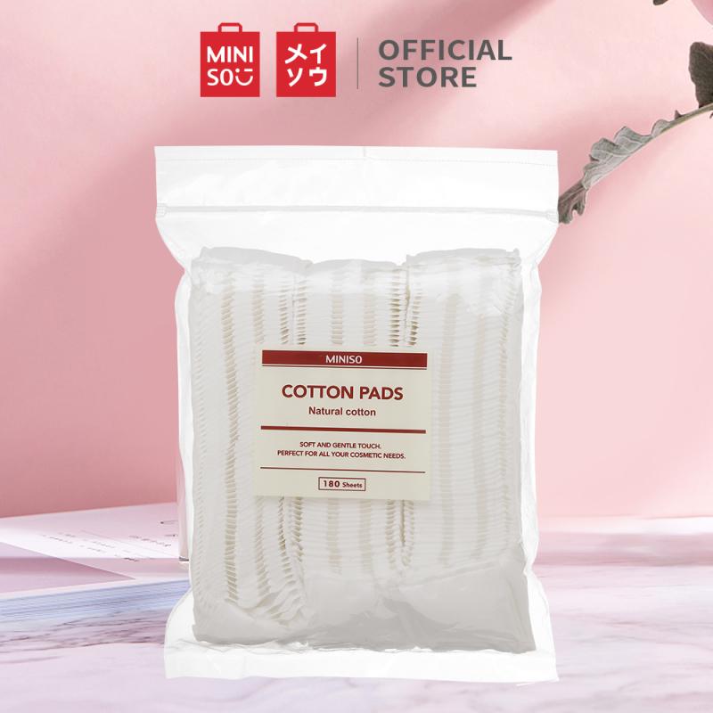 Miếng bông siêu mịn Miniso Bộ bông tẩy trang180 tờ (Trắng) bong tay trang bông tây trang bông tẩy trang miniso bông tẩy trang mỏng cotton pad cao cấp