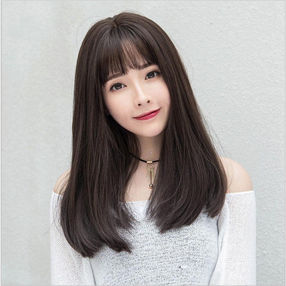 [TẶNG KÈM LƯỚI] Tóc giả nữ Hàn Quốc cao cấp CÓ DA ĐẦU -  TG5080 ( NÂU SOCOLA NHƯ HÌNH ) giá rẻ