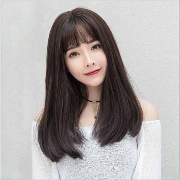 [TẶNG KÈM LƯỚI] Tóc giả nữ Hàn Quốc cao cấp CÓ DA ĐẦU -  TG34 ( NÂU SOCOLA )