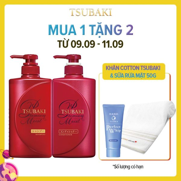 Bộ đôi dầu gội xả dưỡng tóc bóng mượt Tsubaki Premium Moist 490ml/chai cao cấp