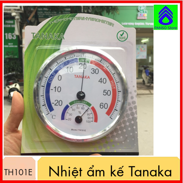 Nhiệt ẩm kế cơ học Tanaka TH101E , thiết bị đo nhiệt độ và độ ẩm trong phòng và ngoài trời - Dụng cụ nhiệt ẩm kế để bàn, treo tường tin cậy, chính xác [PANSO Store]