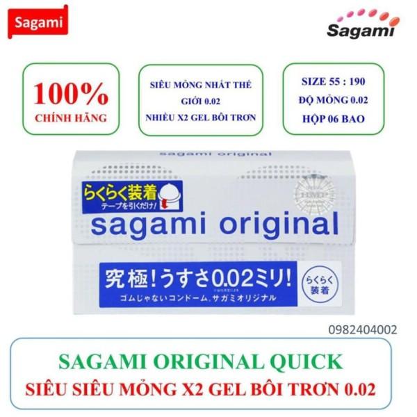 [BAO CAO SU SAGAMI] Bao cao su siêu mỏng ORIGINAL QUICK 0.02mm có dây rút hỗ trợ đeo bao nhanh hộp 06 chiếc