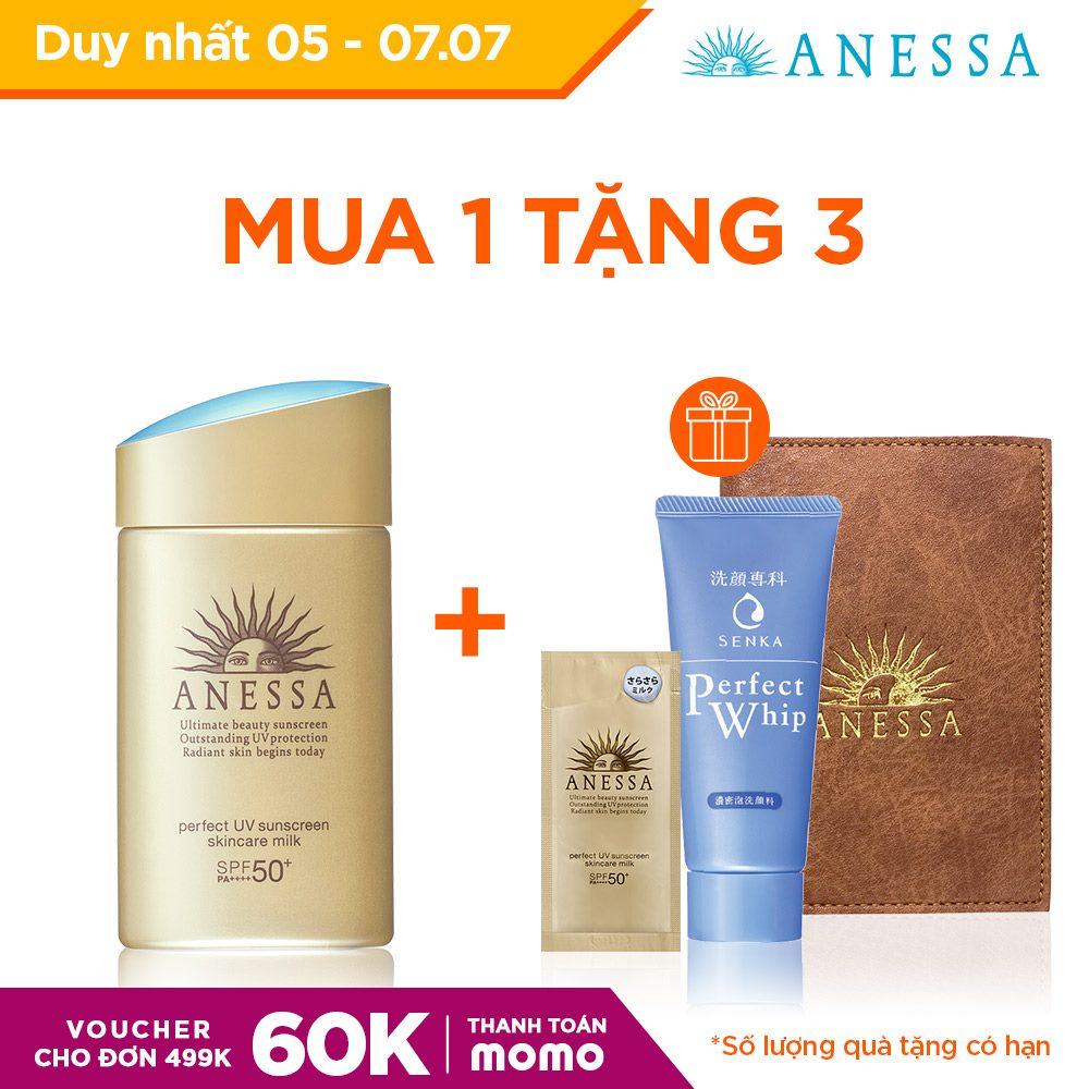 Mã Giảm Giá tại Lazada cho [Voucher MoMo 60k] Kem Chống Nắng Dưỡng Da Dạng Sữa Bảo Vệ Hoàn Hảo Anessa Perfect UV Sunscreen Skincare Milk 60ml
