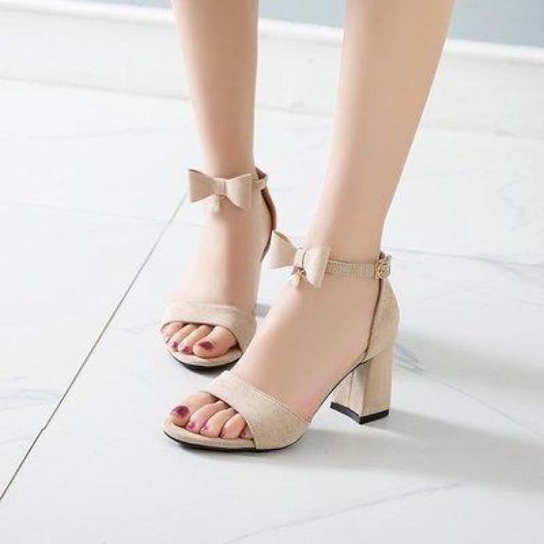 Giày cao gót vuông 7p hở mũi quai nơ 1 hạt châu giá rẻ