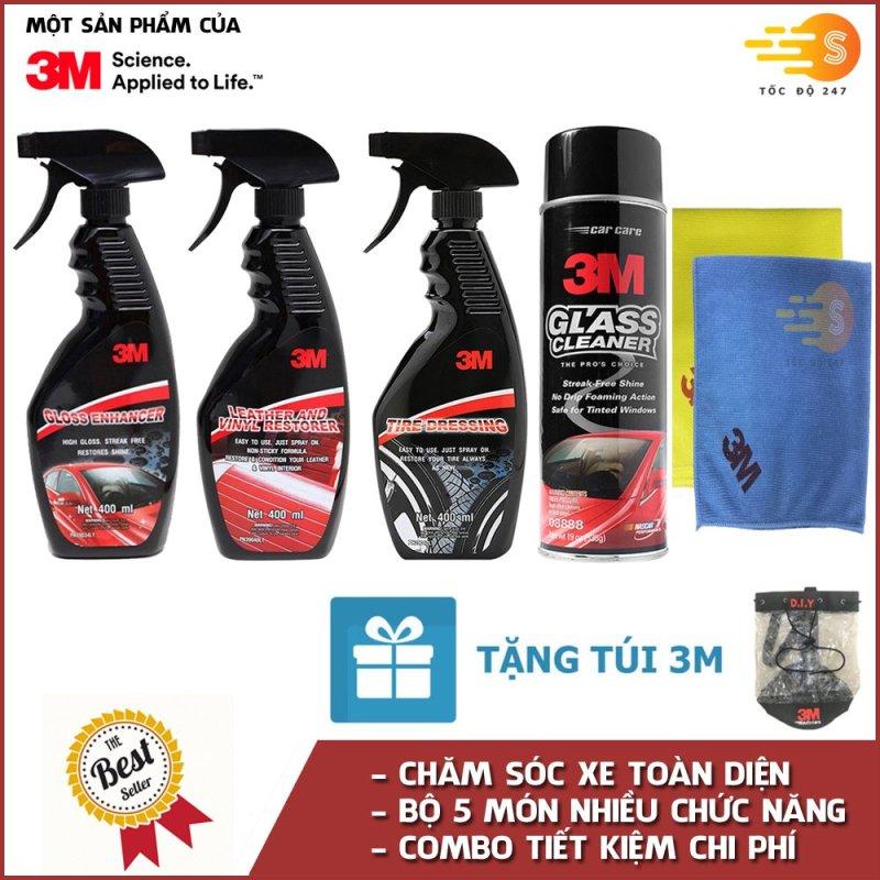 Bộ 5 sản phẩm 3M chai xịt bảo dưỡng nội thất 39040LT, bảo dưỡng lốp 39042LT, tăng độ bóng sơn 39034LT, rửa kính ô tô 08888 và khăn lau chuyên dụng SQ21 (màu ngẫu nhiên) - Tặng kèm túi 3M