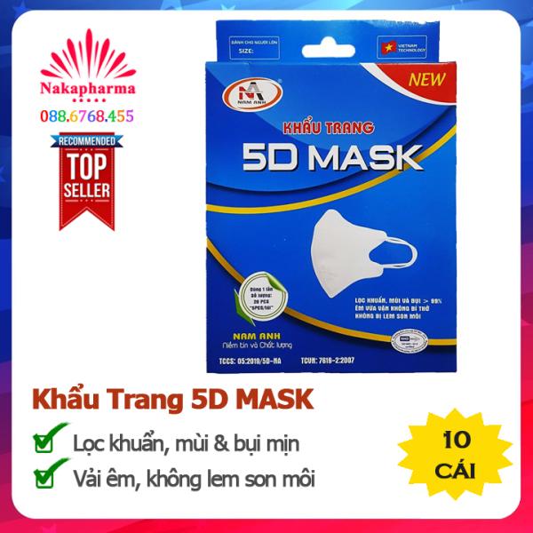 ✅ Khẩu Trang Y Tế 5D Mask Nam Anh - Lọc vi khuẩn, mùi và bụi mịn - Vải êm, dễ chịu, không bị lem son môi
