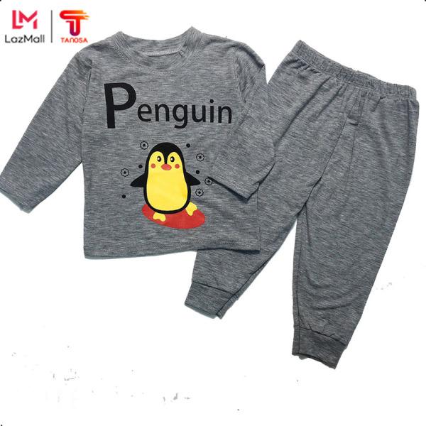 TANOSA Bộ Dài Tay Trẻ Em Cotton Penguin Chim Cánh Cụt Cho Bé Từ 7 Tới 22kg