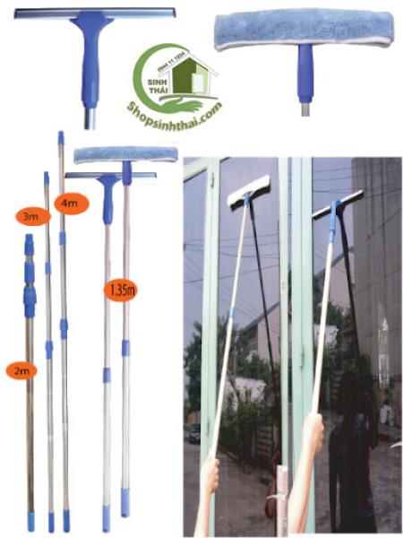 [HCM]Bộ cây lau nhà kính inox hai đầu lau cán có thể kéo dài 23m độ bền Cao dễ dàng lau sạch mọi vết bẩn