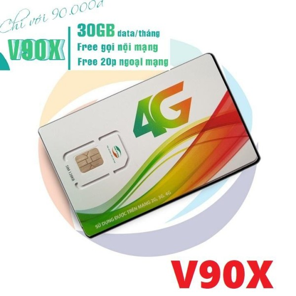 Sim 4G Viettel V90X gọi nội mạng tẹt ga vào mạng 30GB/ Tháng Tốc Độ 4g Siêu Khủng chỉ với 90k/tháng