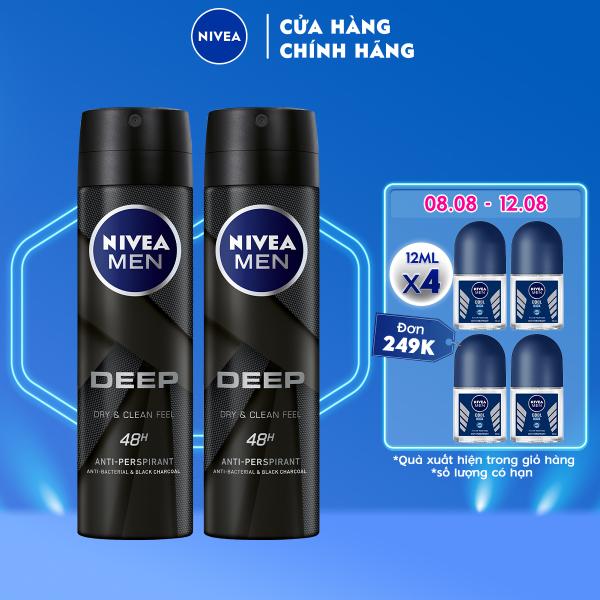 Bộ đôi Xịt ngăn mùi NIVEA MEN Deep than đen hoạt tính (150ml x2) - 80027 nhập khẩu