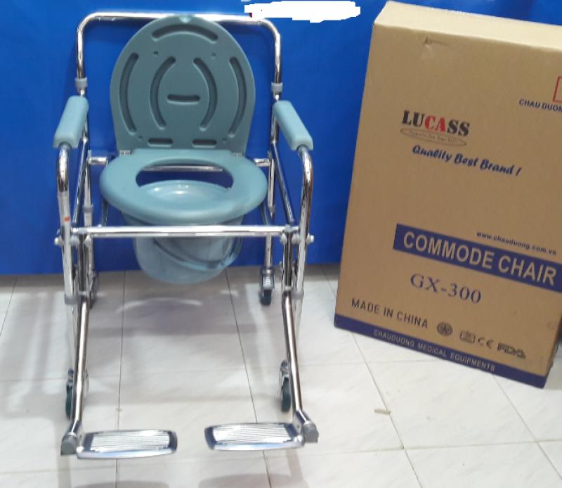 (Chính hãng) Ghế bô vệ sinh cho người già, ghế bô vệ sinh cao cấp có bánh xe di chuyển, có để chân lucass GX300