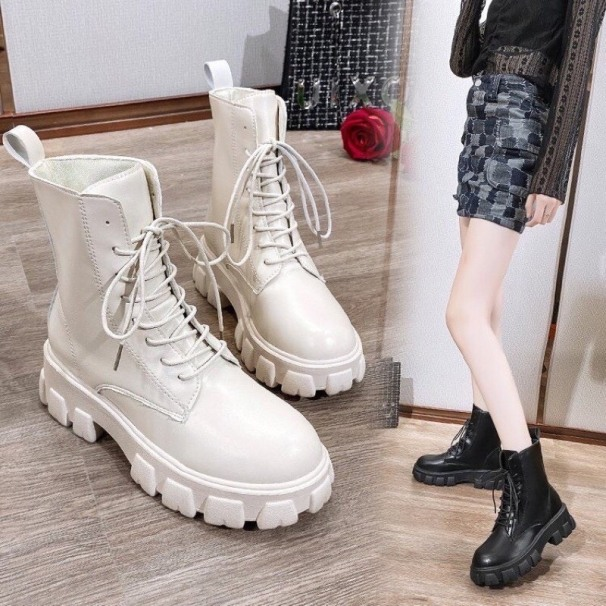 Giày nữ, Bốt thời trang nữ độn đế bánh mì 5p; Chất da mềm, êm chân, không bị bí. Dễ phối đồ giá rẻ