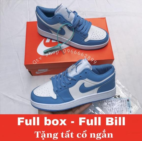 Full box - Full Bill, Tặng tất - Giày thể thao nam nữ jordan xanh cổ thấp. giá rẻ
