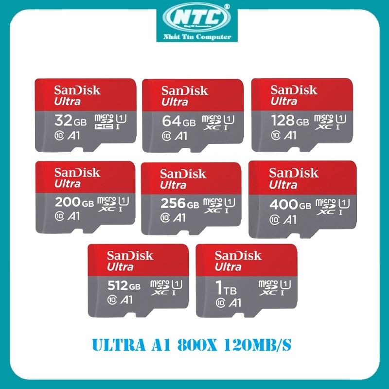 Thẻ nhớ MicroSDXC SanDisk Ultra A1 32GB / 64GB / 128GB / 200GB / 256GB / 400GB / 512GB / 1TB 800x U1 120MB/s - Không Adapter (Xám) - New Model - Nhất Tín Computer