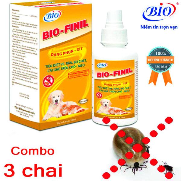 [HCM]Combo 3 chai thuốc xịt BIO-FINIL tiêu diệt ve bọ chét rận ghẻ trên da chó mèo siêu hiệu quả-79203