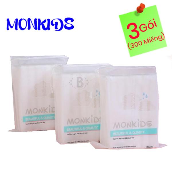 COMBO 3 gói bông tẩy trang 100% cotton 3 lớp mềm mịn thấm hút cực tốt 300 miếng BTT02LA - Thương Hiệu MONKIDS tốt nhất