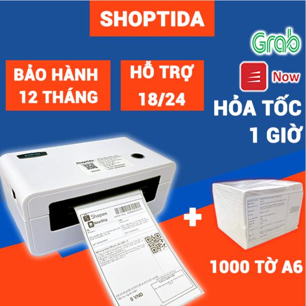 Máy in đơn hàng Shoptida SP46 kèm 1000 giấy in nhiệt 10*15cm, combo máy in nhiệt giấy tự dán bảo hành 12 tháng