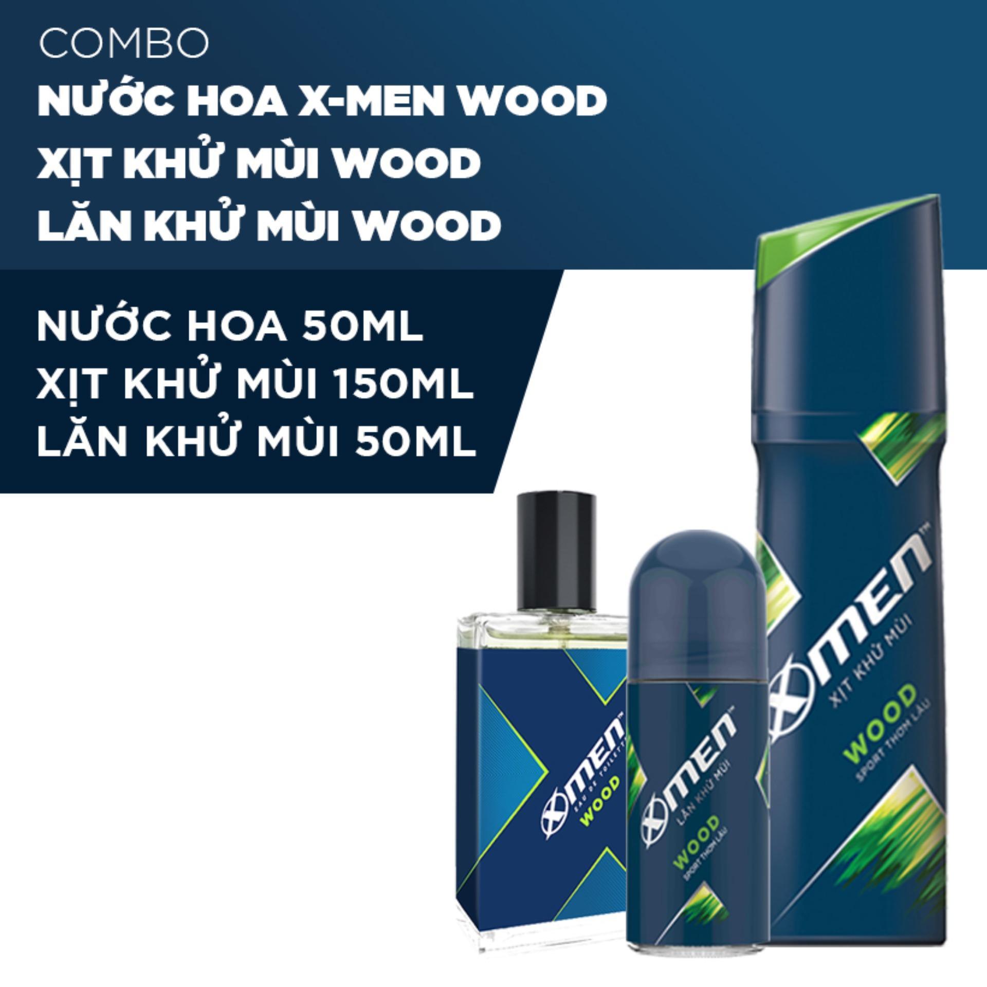 Combo Nước hoa X-men Wood 50ml + Xịt khử mùi Xmen Wood 150ml + Lăn khử mùi Wood 50ml tốt nhất