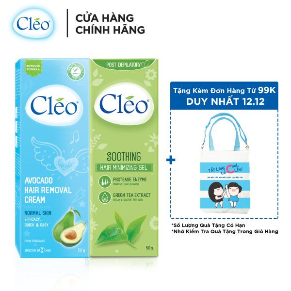 Bộ đôi kem tẩy lông Cléo da thường 50g và Gel dịu da Cléo giúp chậm mọc lông 50g, an toàn, không đau và đạt hiệu quả nhanh chóng