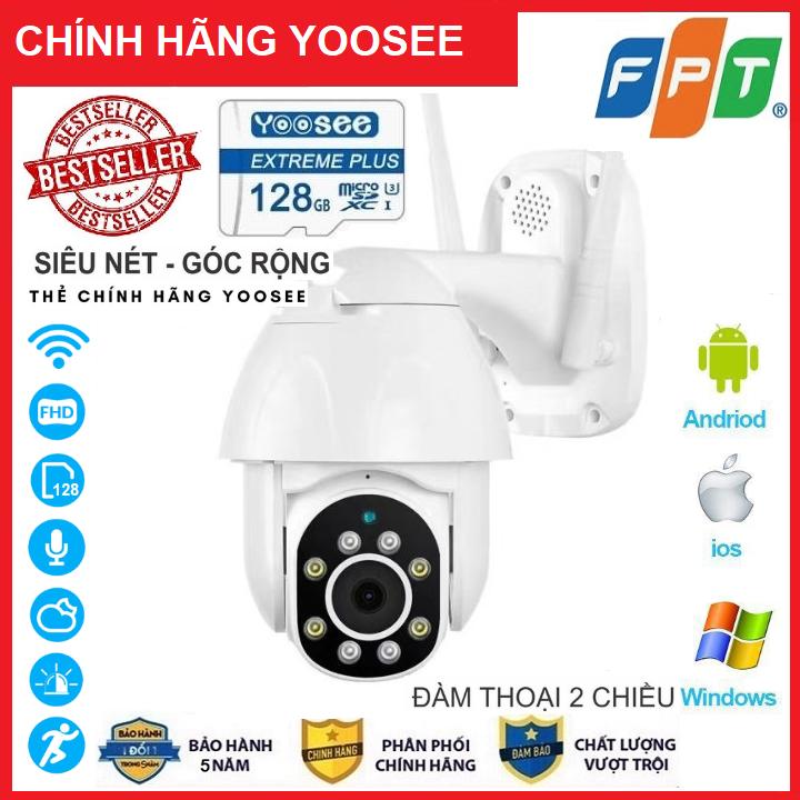 [Có màu ban đêm xoay 360 độ thẻ 128gb Yoosee ] camera wifi 3.0 ngoài trời - camera wifi ip ngoài trời - fullhd 1080 - xoay 360°