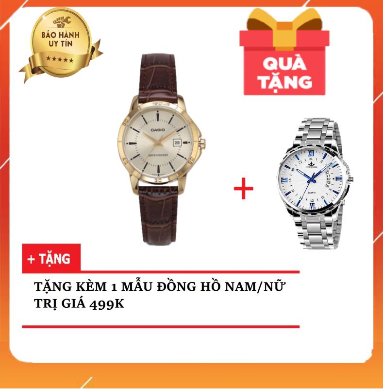 Đồng hồ nữ dây da CA$IO Khuê LTP-V004GL-9AUDF ( TẶNG KÈM 1 ĐỒNG HỒ NỮ/NAM CHỐNG NƯỚC 499K ) Chính Hãng Anh Khuê - Có team chống giả và thẻ bảo hành chính hãng