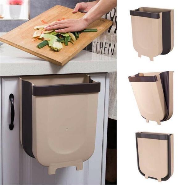 Thùng rác gấp gọn thông minh treo tủ tiện lợi nội thất sắp xếp nhà bếp-Thùng rác xếp gọn thông minh- Hộp đựng rác chịu lực gọn gàng dễ lắp ráp di dời