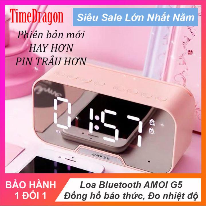 Loa bluetooth 3in1 loa bluetooth kèm đồng hồ báo thức Amoi g5 nhiệt độ loa âm thanh siêu hay bass trầm ấm pin trâu Có thể làm gương soi tương thích với