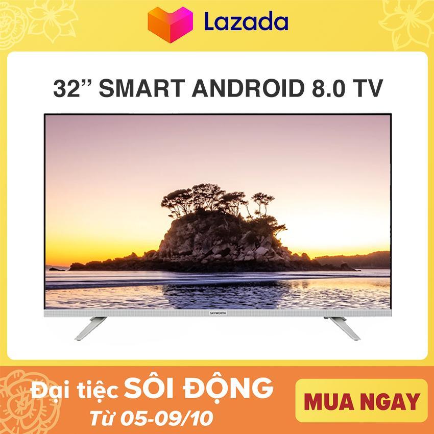 Bảng giá Smart Tivi Led Skyworth 32 inch HD Wifi - Tràn Viền - Model 32E6 (Bạc) - Chân viền kim loại NEW 100%