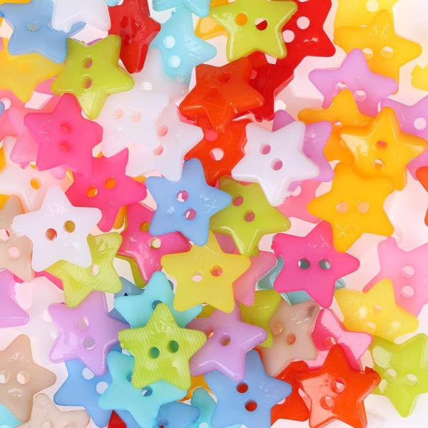 Mua 100pcs Handmade Accessorie Mixed Color Star Picture Multi-Purpose Plastic Craft Resin Button Round