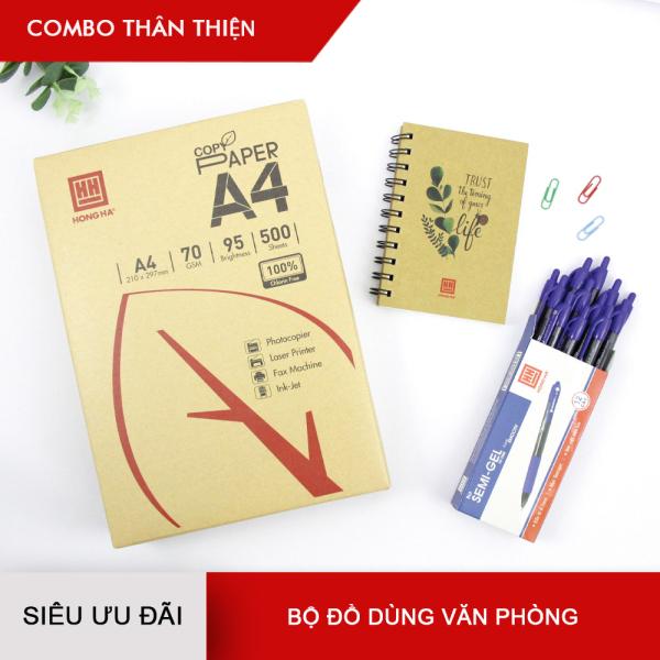 Mua [GIÁ SỐC] Combo  Thân thiện  - Giấy in Hồng Hà A4 70gms + Bút semi Gel + Sổ lò xo Eco A6
