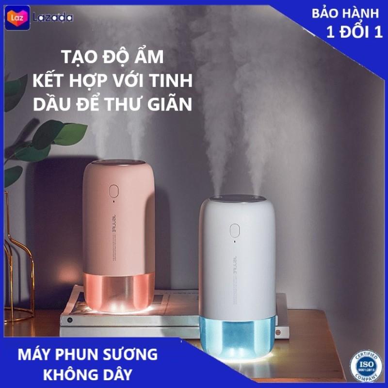 Máy phun sương tạo ẩm Jisulife JB08 - Máy tạo ẩm không khí và giữ ẩm da, dung tích 500ml - Hai chế độ phun đơn và kép – Máy tạo ẩm không gian thư giãn kiêm đèn ngủ LED để bàn(trắng +hồng)