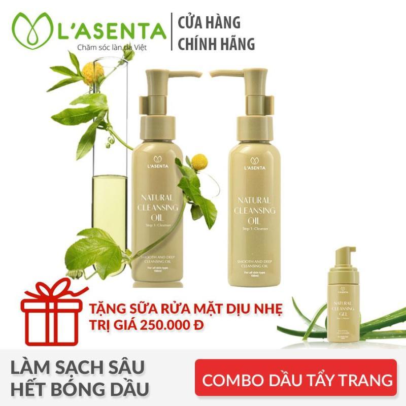 Combo 2 Dầu tẩy trang Lasenta Natural Cleansing Oil 100ml Tặng Gel rửa mặt dành cho da nhạy cảm Lasenta Natural Cleansing Gel 100ml cao cấp