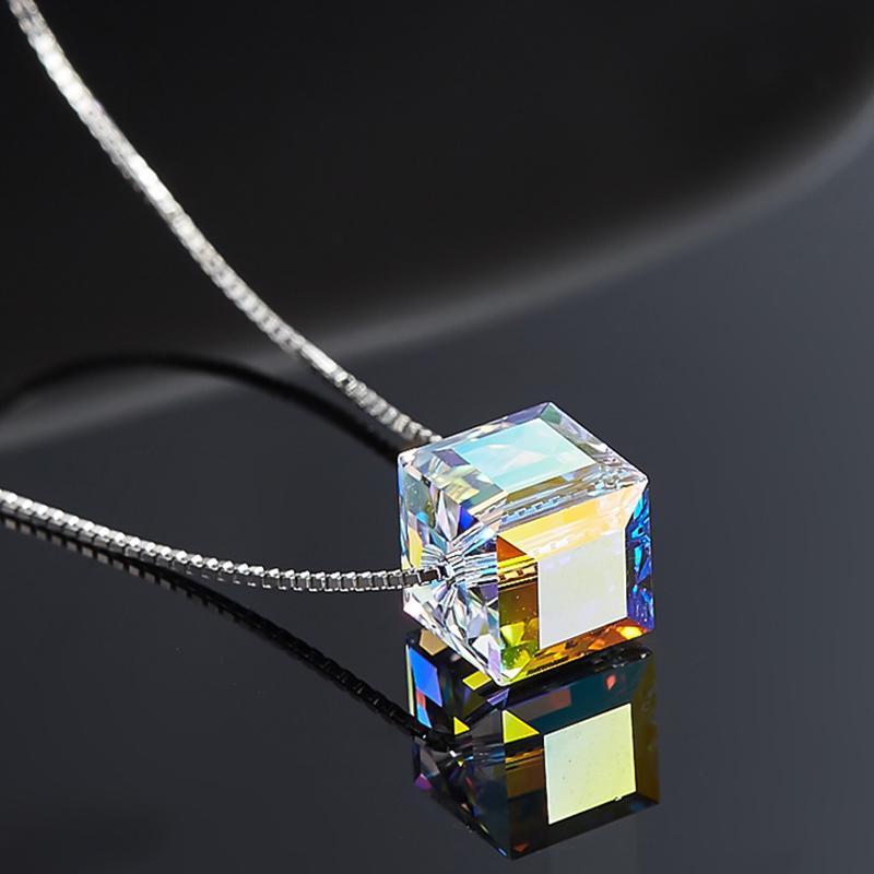 Dây chuyền BẠC Nữ S925 kèm mặt khối Đảm bảo Bạc thật Chất lượng cao cấp pha lê trong suốt phản quang nhiều màu Lấp lánh Cổ điển Thời trang Phong cách Hàn Quốc SN-MA396
