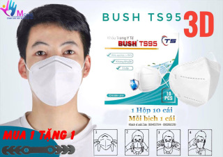 Khẩu trang Bush TS95 3D kháng khuẩn 5 lớp (màu trắng) ngăn mầm bệnh qua đường hô hấp đạt tiêu chuẩn ISO 13485 2016 được sản xuất bởi Cty TNHH MTV SXTM Thanh Sơn (Việt Nam) tặng 01 đai đeo khi mua 1 hộp khẩu trang thumbnail