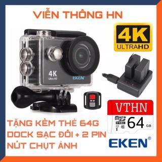 [TẶNG THẺ NHỚ 64GB] Camera 4k Eken h9r bản mới v8 nâng cấp 20mp chống rung chống nước - tặng 1 pin và 1 dock sạc đôi - camera wifi ip xe máy oto phượt chống sốc - camera hành trình phượt mini thumbnail