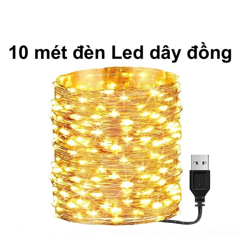 10m Dây đèn led dây đồng, Dây Đèn không chớp nháy Led Fairy Light/ Đèn led trang trí sử dụng nguồn điện USB 5v trang trí giáng sinh noel, năm mới